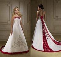 espartilho de lantejoula vermelho doce venda por atacado-Elegante vermelho e branco bordado A linha de vestidos de casamento querido Espartilho de cetim lantejoulas frisado nupcial do casamento Vestidos baratos Custom Made