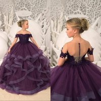 Wholesale off white long lace dress resale online - Grape Tier Ruffles Girl Pageant Dresses Sheer Neck Off Shoulders Appliqued Sequined Long Flower Girl Dress Toddler Kids Party Gown