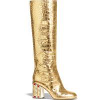 cocodrilo en relieve cuero genuino al por mayor-Perfecto Calidad Oficial de Lujo Personalizada Botas Altas de Cocodrilo En Relieve Metálico Piel de becerro de Oro Genuino de Cuero de Vaquero Occidental Zapatos de Moda