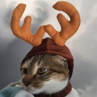 Wholesale reindeers costume for sale - Group buy Cute Christmas Reindeer Pet Hat For Puppy Dog Cat Plush Xmas Style Costume Cap