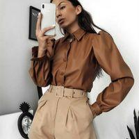 braun blusen für frauen groihandel-Herbst-Brown PU-Leder-Bluse Frauen Langarm-Puff Bluse Vintage Shirt Damen 2019 Winter-beiläufige Art und Weise Umlegekragen