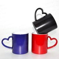 sevgi değişimi toptan satış-Yaratıcı Isı Transferi Kaplama Kupa Siyah Aşk Kalp Şekilli Kolu Seramik Bardak Renk Değiştirme Drinkware 4 6sm Ww