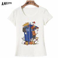 New Summer Fashion Women T Shirt Kitten Doctor Who Print T-Shirt Girl  Casual Tops Cute Tees Cat Family Box Design Short Sleeve 946a440d43e2