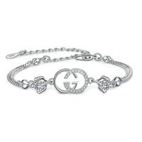 ingrosso braccialetti scorrevoli-Braccialetto caldo del progettista di marca per i braccialetti di fascini delle donne Cristallo viola bianco per trasporto di goccia d'argento femminile dei monili