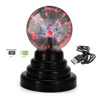 Wholesale magic glass ball light resale online - Plasma Ball Light Lightning Sphere Party USB Operated Magic Crystal Electrostatic Induction Balls Party Decoration Children Gift