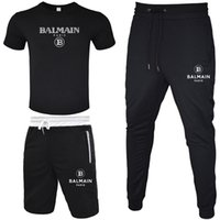 Wholesale white running shirts resale online - BALMAIN Men Tracksuit T shirt Short Pant Long Pant Piece Sets Solid Color Outfit Suits High Quality Tracksuits