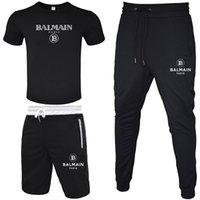 Wholesale suits black resale online - BALMAIN Men Tracksuit T shirt Short Pant Long Pant Piece Sets Solid Color Outfit Suits High Quality Tracksuits
