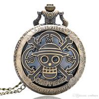 часы продажа часов оптовых-Half Hunter Hollow Горячие Продажа One Piece Тема Кварцевые Карманные Часы Старинные Подвесные Часы с Цепью Fob День Рождения для Детей reloj de bolsillo