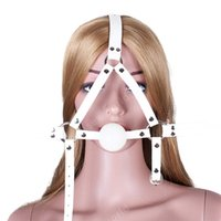 головной убор для рта оптовых-Белые силиконовые мяч рот заткнуть PU кожа голова жгут связывание рот игрушки для взрослых игры