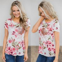a1b01bae310a Trendy Women T-shirt Hot Floral print Ladies Loose round neck Short Sleeve  Tops pullover pocket sequin T-Shirts one pieces