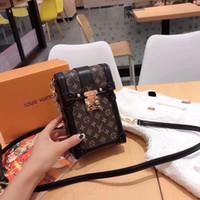 модный мешок мобильного телефона оптовых-2019 новый стиль высочайшее качество моды мобильный телефон сумки холст цепи сумки женщины сумка модная сумка сумка для мобильного телефона M63913 11x17.5x3.5 см