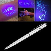 canetas esferográficas led venda por atacado-Criativo Magia LED Luz UV Caneta Esferográfica com Tinta Invisível Secret Pen Espião Novidade Item Para Presentes Material Escolar Escritório