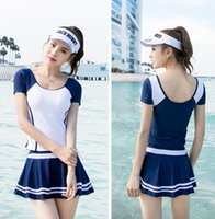 Wholesale hot sexy girls blue swimwear for sale - Women s Three Piece Suit Swimming Suit Conservative Student Girls Fashion Hot Spring Swimsuit Summer Holiday Sexy Swimwear