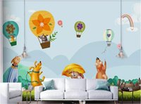 Wholesale pictures puppies resale online - 3d room wallpaper custom photo non woven mural Nordic minimalistic hand drawn cartoon puppy balloon children room art canvas pictures