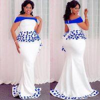 küçük boyutlu elbiseler özel günler toptan satış-Artı Boyutu Özel Durum Abiye Ile Kraliyet Mavi Aplikler Peplum Kapalı Omuz Mermaid Balo Elbise