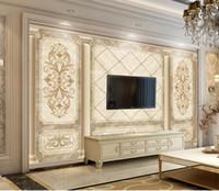 murales de pared de la vendimia papel pintado al por mayor-3D personalizado Papel pintado mural creativo Extended arte de mármol papel de seda Pintura pared de la vendimia de primera calidad
