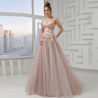 Wholesale beach wedding dresses layered resale online - Peach Pink Illusion Top Wedding Dresses Jewel Neck Appliques Layered Skirt Tulle Beach Bridal Gown Boho A Line Country Wedding Gowns