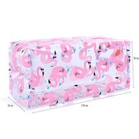 мытье сумочки оптовых-Women  Case Zipper Make Up Handbag Organizer Storage Pouch Wash Toiletry Travel Transparent Animal Flamingo Cosmetic Bag