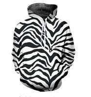 zebra druck kapuzenpullis groihandel-Kostenloser Versand Unisex Zebra Stripes Hoodies Hoodies Street Wear Casual Hip Hop Taschen Sweatshirt Kleidung RWK08
