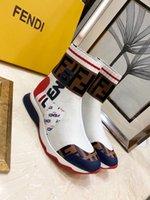 tejido de punto blanco negro al por mayor-Zapatos de mujer zapatillas blancas Negro Tela zapatillas de deporte Stretch Knit diseñador de las mujeres zapatilla de deporte de la caja de arranque