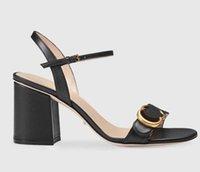 yeni stil altın ayakkabı topuklu toptan satış-Yeni Avrupa klasik lüks eşya tarzı bayanlar yüksek topuklu ayakkabılar saf deri hakiki altın dekoratif kemer süs 06 tokası lettered