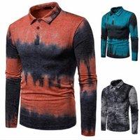 klasik tasarımcı kıyafetleri toptan satış-Erkek Tasarımcı Kontrast Renk Gömlek Baskılı Pamuk Yaka Boyun Bahar Erkek Klasik Stil Erkek Giyim Tops