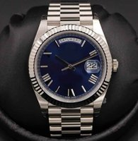автоматические золотые роскошные часы оптовых-Мужские нержавеющей браслет роскошные мужские наручные часы Новый 2019 40 мм день дата синий автоматический 18 K белое золото мужские часы 228239 дата часы