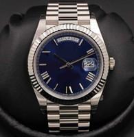 18k weißgold armbänder großhandel-Mens Edelstahl Armband Luxus Herren Armbanduhr NEUE 2019 40MM Day-Date Blau Automatik 18K Weißgold Herrenuhr 228239 Datum Uhren