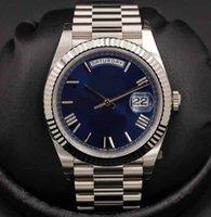ouro relógio mens 18k automático venda por atacado-Mens pulseira de aço inoxidável mens luxo relógio de pulso novo 2019 40mm dia-data azul automático 18k ouro branco mens watch 228239 relógios data