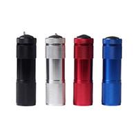 ingrosso luci led uv-Torcia UV portatile in lega di alluminio Luce violetta 9 LED 30LM Lampada torcia Mini torcia elettrica 4 colori ZZA416