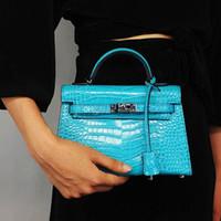 el çantası deri orijinal markalı toptan satış-Micaela 2019 marka moda bayan tasarımcı lüks çanta cüzdan kadın timsah hakiki deri debriyaj crossbody çanta kadın çanta