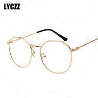 unregelmäßige polygone großhandel-LYCZZ Unregelmäßige persönlichkeit Anti Blaulicht Strahlung Brille Rahmen Metall Polygon Optische Brille Rahmen Eyewear Ultraleicht