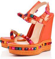 ingrosso sandali confortevoli rossi-Confortevole borchie per le signore estive Fondo rosso con zeppa Cataclou Luxury Designer Fibbia con cinturino Donna Tacchi alti Famoso sandalo gladiatore