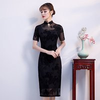 ingrosso abiti cinesi di colore nero-Abito da pulsante fatto a mano in stile cinese con ricamo in pizzo nero Ladies Vintage Qipao Classic Stage Show Elegante Cheongsam femminile