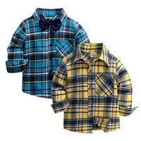 Wholesale old fashioned clothes for kids resale online - New Autumn Children Boys Shirts Fashion Plaid Mandarin Collar Long Sleeves Shirts For Years Old Kids Wear Clothes
