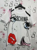 Wholesale red lips clothing online – design Women Tshirt Designer Angel Tears Doodle Loose Short Sleeve Sexy Red Lips Print T Shirt Luxury Designer Womens Clothing S XL