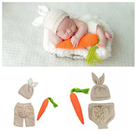 Wholesale crochet baby clothes online - Newborn bunny Crochet photography Sets Baby Photography Props Rabbit radish knit costume Halloween Easter infant Cosplay clothing C6003