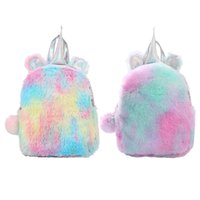 Wholesale fluffy unicorn plush resale online - Cute Sequins Fluffy Unicorn Backpack Dreamy Colorful Plush Primary School Bag Children Girl Capacity Backpack Women Shoulder Bag