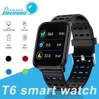 ingrosso telefono della vigilanza dello schermo di tocco della mora-T6 Smart Watch per Apple iphone orologio smartwatch fitness tracker schermo touch battito pressione arteriosa braccialetto intelligente impermeabile PK DZ09 A1