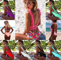 sexy rüsche einteilige badebekleidung großhandel-Frauen Sexy Rüschen Backless Bikini One Piece Sommer Strand Schwimmen Badebekleidung Push Up Gepolsterte Verband Badeanzug Feste Badeanzug TTA109