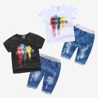 vaqueros de moda para bebés al por mayor-Traje de dibujos animados para bebés 2019 Verano Nuevo traje de niño para niños de manga corta T-shirt Jeans Moda de algodón Boutique Ropa para niños