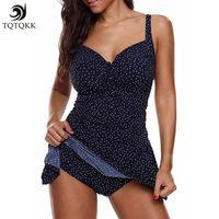 ef6241573754d wholesale 2019 Sexy Dots Plus Size Swimwear Women Tankini Swimsuit Ruched Push  up Two piece Swimsuit Female Swimming skirt