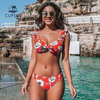 ruffle de biquíni vermelho venda por atacado-CUPSHE Red Floral atado Ruffled Bikini Define Sexy Bow Low-rise Swimsuit Dois Pieces Swimwear Mulheres 2020 Praia terno de banho
