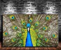 ingrosso pavone di pittura di tela di arte della parete-Pavone blu pavone, 1 pezzi stampe su tela Pittura a olio di arte della parete Home Decor (senza cornice / con cornice)