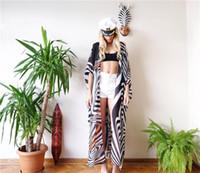 sich vorbereiten großhandel-Sommer Bikini Vertuschungen Frauen lange Zebra gestreiften Strand Sonnen In Cardigan Bademode Kleidung für Frauen