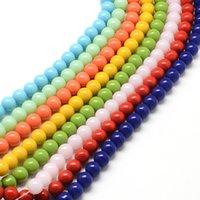 ingrosso perline misti 4mm vetro-4 ~ 5x3 ~ 4mm Fili di perline sciolto in vetro rotondo per monili che fanno accessori di risultati di DIY, colore misto; circa 150 pezzi / filo, 22,8