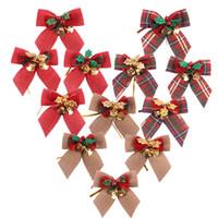 árvore de natal dos sinos de tinir venda por atacado-Bowknot Árvore de Natal com suspensão do tinir Sinos DIY Craft Arcos Xmas Ornamentos Garland Natal Bow Tie Navidad Decor JK1910