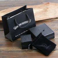samt geschenkboxen für verpackung großhandel-Hochwertige Schmuck Paket Boxen schwarz Kunstleder PU Material Halskette Armband Ring Boxen Geschenkboxen mit Samtbeutel