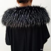 bufanda de zorro al por mayor-Cuello de piel de zorro Cuello con capucha Chaqueta de piel real Cuello de piel Marca bufanda 70 cm Longitud Sólido Adulto Genuino Exclusivo