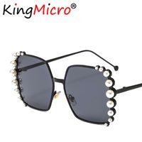 черные розовые очки рамы оптовых-2019 Women's Square Diamond Sunglasses For Women Metal Frame Ladies Big Bling Pearl Fashion Sun Glasses Black Pink UV400